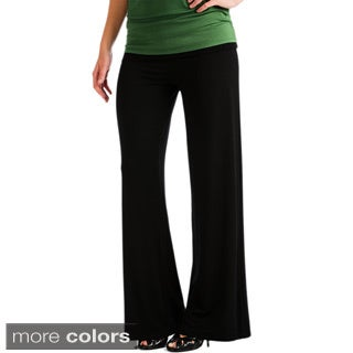 Lyss Loo Women's Stylish Palazzo Pants with Fold-over Waistband