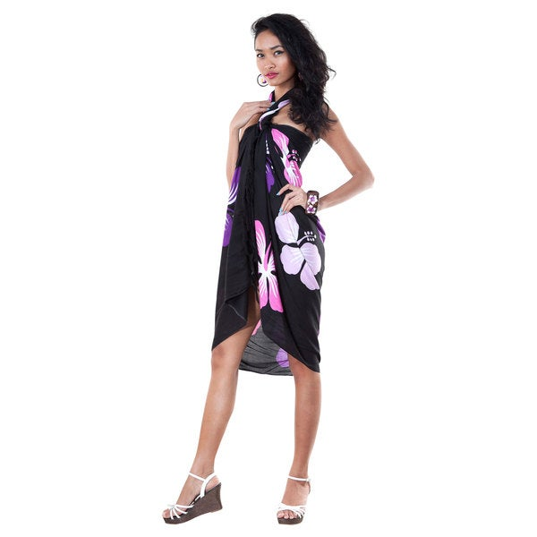 Hand-crafted Women's Black/Pink and Purple Hawaiian Floral Sarong (Indonesia)