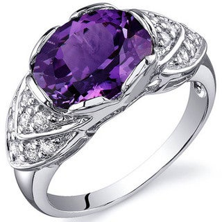 Oravo Sterling Silver Oval Prong-set Gemstone Cubic Zirconia Ring