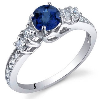 Oravo Sterling Silver Round-cut Prong-set Gemstone Cubic Zirconia Ring