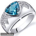 Oravo Sterling Silver Trillion-cut Gemstone and Cubic Zirconia Ring