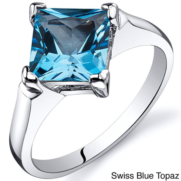 oravo sterling silver princess cut gemstone solitaire ring