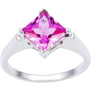 Oravo Sterling Silver Princess-cut Gemstone Solitiare Ring