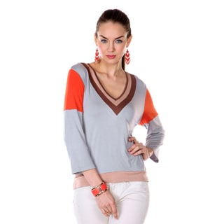 Women's Orange and Grey Colorblocked 3/4-sleeve Top