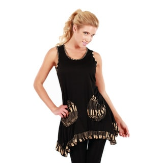 Women's Black and Beige Sleeveless Ruffled Top