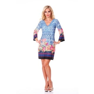 White Mark Women's Blue Printed Bell-sleeve V-neck Dress
