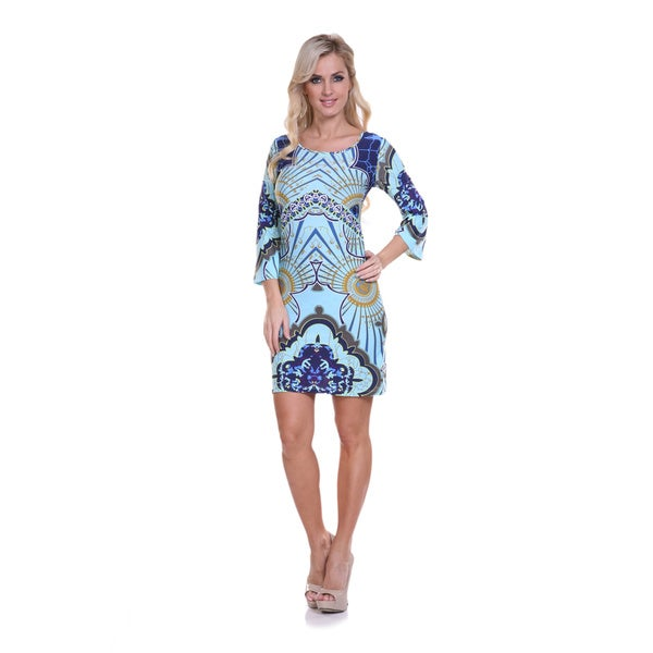 White Mark Women's Blue Printed Bell Sleeve Mini Dress