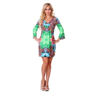 White Mark Women's Green and Pink Printed Bell-sleeve Dress