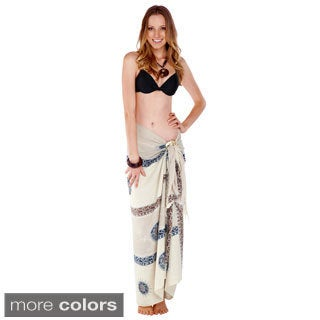 Handmade Women's White/ Grey Baliku Sarong (Indonesia)