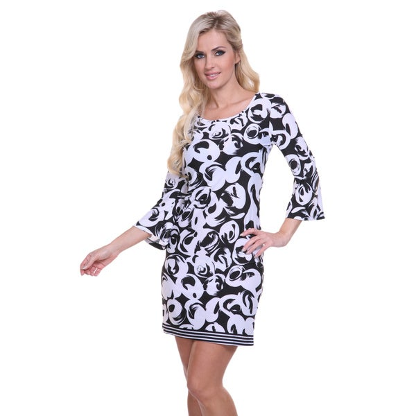White Mark Women's Black and White Printed Bell Sleeve Dress