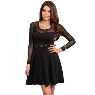 Stanzino Women's Black Inset-mesh Long Sleeve A-line Dress