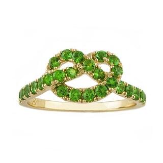 Beverly Hills Charm 'Love Knot' 14k Yellow Gold Tsavorite Knot Ring
