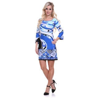 White Mark Women's Blue Printed Bell Sleeve Dress