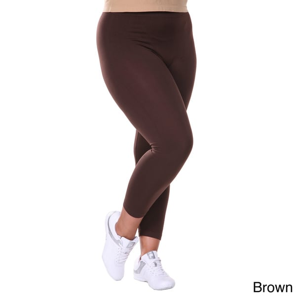White Mark Women's Plus Size Solid Daily Leggings