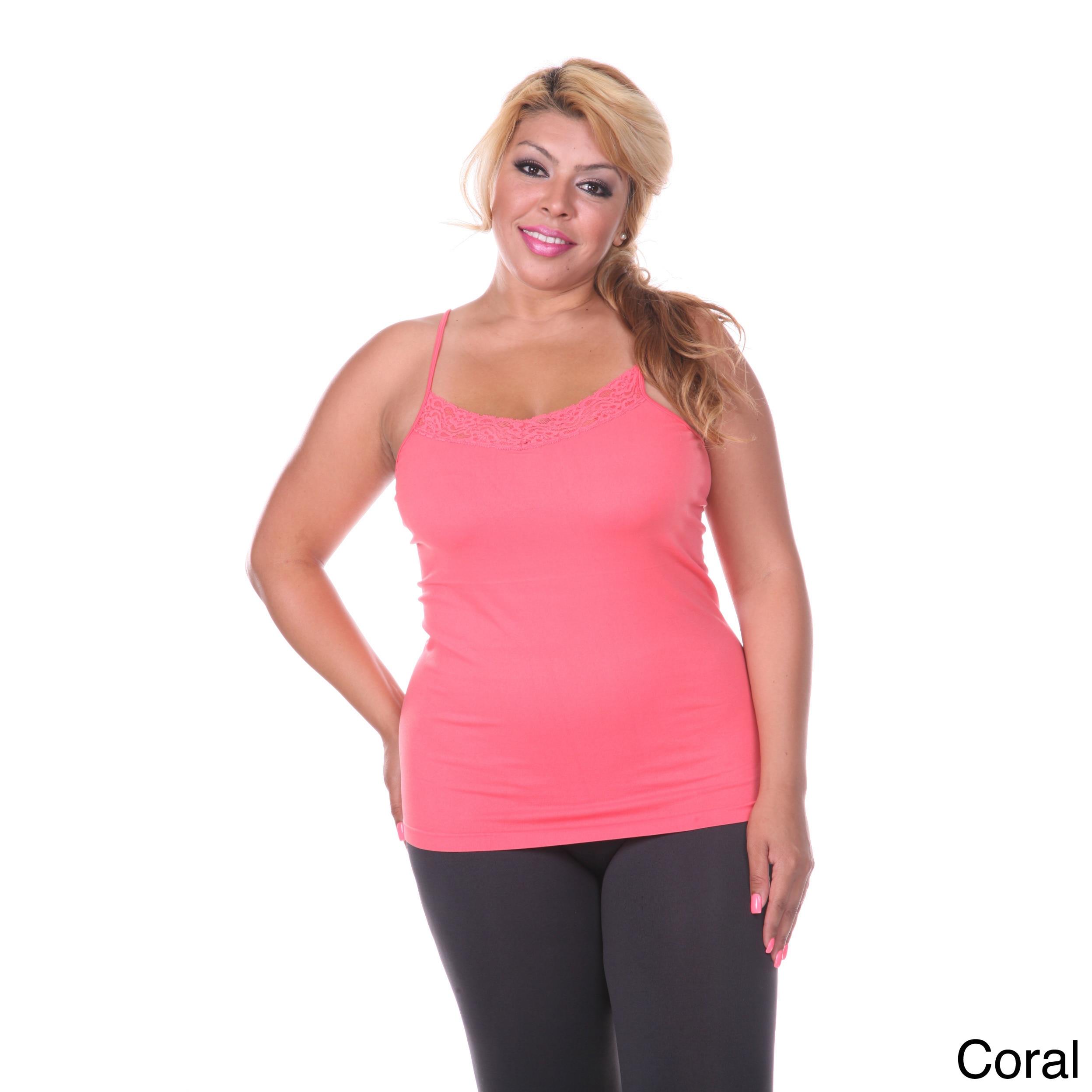 Overstock.com White Mark Women's Plus Size Lace Trim Cami at Sears.com