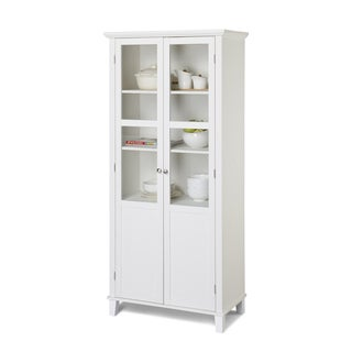 White Glass-door Pantry with Crown Moulding