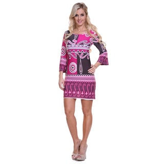 White Mark Women's Burgundy and Purple Printed Bell Sleeve Dress