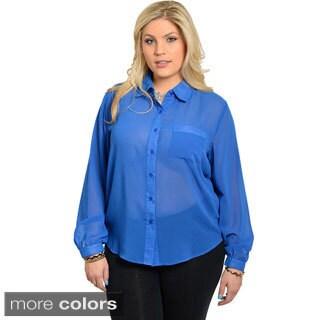 Stanzino Women's Plus Size Chiffon Long Sleeve Button-down Shirt
