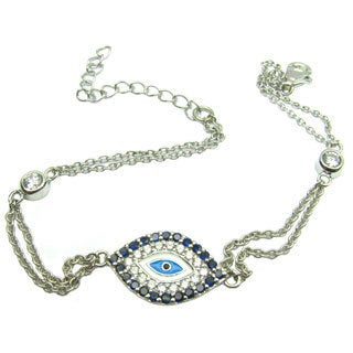 Sonia Bitton Platinum Over Sterling Silver Evil Eye Bracelet
