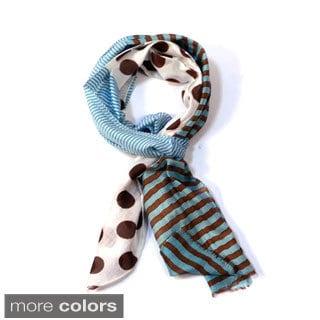Magid Stripe and Polka-dot Lightweight Scarf