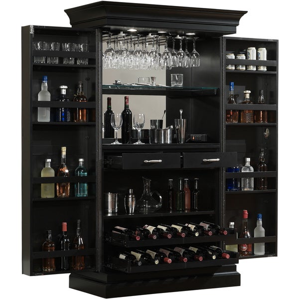 Ashley Heights Black Stain Home Bar Wine Cabinet - 16325081 ...: www.overstock.com/Home-Garden/Ashley-Heights-Black-Stain-Home-Bar...