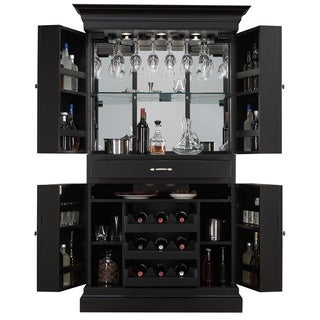 Arianna Black-stain Home Bar Wine Cabinet/ Corner Server