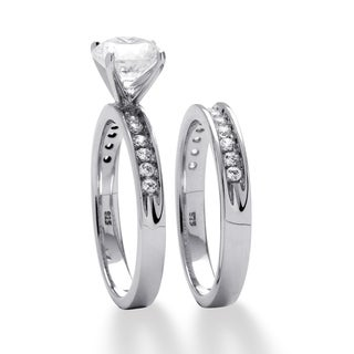 Ultimate CZ Platinum over Silver Round-cut Cubic Zirconia Bridal Ring Set
