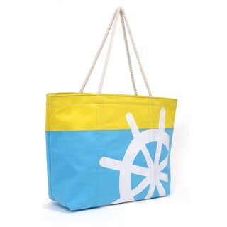 Magid Two-tone Nautical Canvas Rope Tote Bag