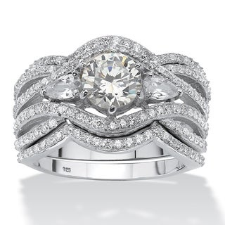 Ultimate CZ Platinum over Silver 3 2/5ct TGW Cubic Zirconia Ring Set