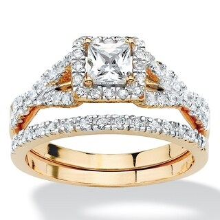 PalmBeach .97 TCW Princess-Cut Cubic Zirconia Two-Piece Bridal Set in 18k Gold over Sterling Silver Classic CZ