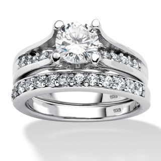 Ultimate Platinum Over Silver Round-cut Cubic Zirconia 2-piece Ring Set
