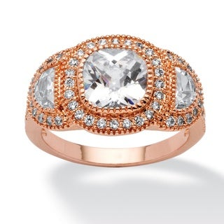 Ultimate Rose Goldplated 3-stone Cubic Zirconia Cocktail Ring