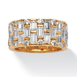 PalmBeach 8.26 TCW Baguette and Round Cubic Zirconia Basket Weave Eternity Band in 14k Gold-Plated Glam CZ