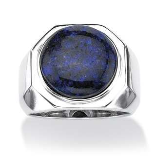 Angelina D'Andrea Platinum Over Silver Men's Cabochon Blue Opal Ring