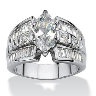 PalmBeach CZ Platinum Overlay Marquise and Princess-cut Cubic Zirconia Ring Classic CZ