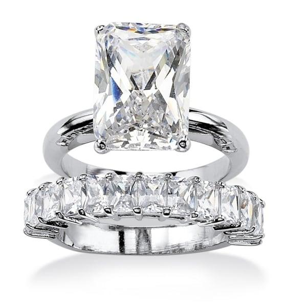 PalmBeach 9.00 TCW Emerald-Cut Cubic Zirconia Platinum-Plated Bridal Engagement Ring Wedding Band Set Glam CZ