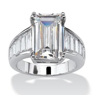 PalmBeach 16.93 TCW Emerald-Cut Cubic Zirconia Ring in Silvertone Glam CZ
