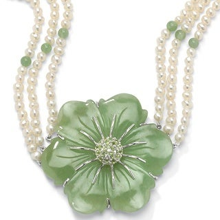 PalmBeach 1.20 TCW Jade and Cultured Freshwater Pearl Necklace in .925 Sterling Silver Naturalist