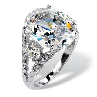 PalmBeach CZ Platinum over Silver 10 2/5ct TGW Cubic Zirconia Ring Glam CZ