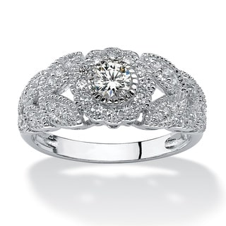 Ultimate Platinum over Silver Cubic Zirconia Leaf Ring