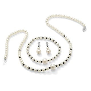 PalmBeach 2.25 TCW Genuine Sapphire and Cultured Freshwater Pearl Necklace, Bracelet and Earrings Set