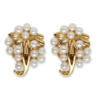 Angelina D'Andrea Base Metal Freshwater Pearl Earrings (3.8 mm)