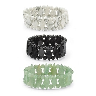 Angelina D'Andrea Jade Stretch Bracelet Set