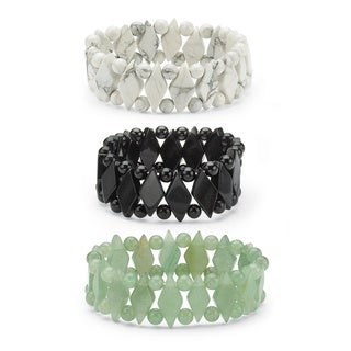 PalmBeach Jade Stretch Bracelet Set Naturalist