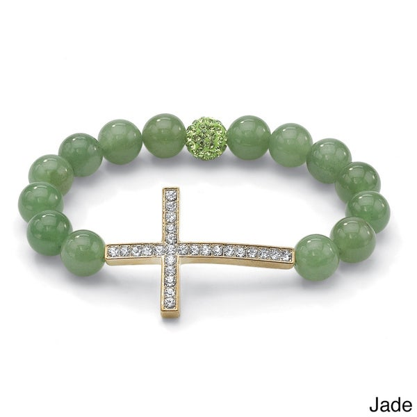 "PalmBeach Round Genuine Gemstone and Crystal Yellow or Rose Gold-Plated Horizontal Cross Stretch Bracelet 8"" Naturalist 13172624"