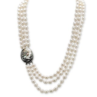 "PalmBeach Genuine Cultured Freshwater Pearl and Black Mother-Of-Pearl Cameo Triple-Strand Necklace 28"" Naturalist"