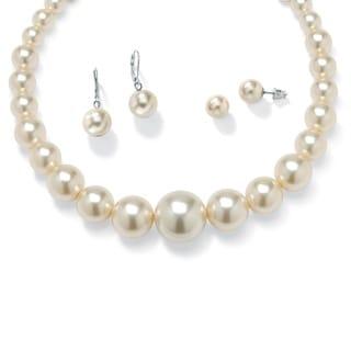 PalmBeach 3 Piece Pearl Set in Silvertone Bold Fashion