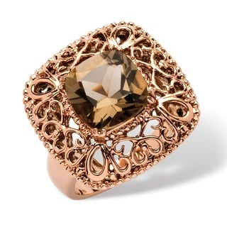 Angelina D'Andrea Brass 3 1/3ct TGW Smokey Quartz Ring