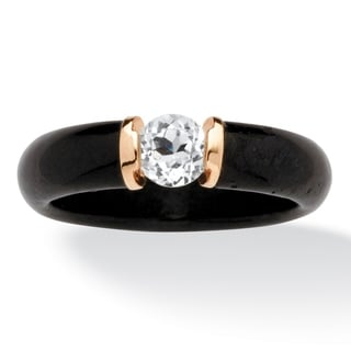 PalmBeach .56 TCW Black Jade and White Topaz Ring in 10k Gold Naturalist