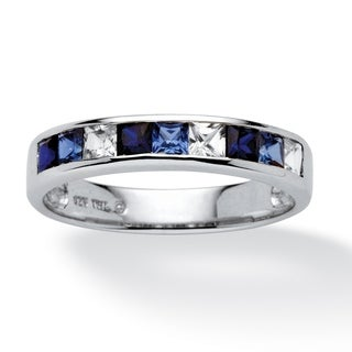 Angelina D'Andrea Platinum Over Silver Lab-created Sapphire Ring